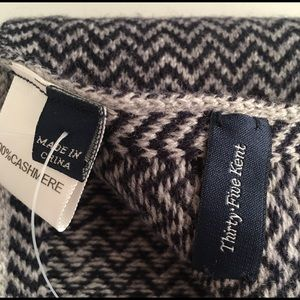 Men's 100% Cashmere Blue & Gray ZigZag Scarf